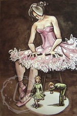 dancer plays with marionettes bow and curtsy