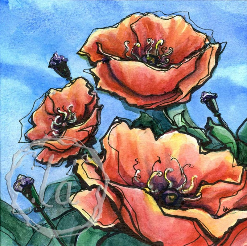 Poppy breeze watercolor