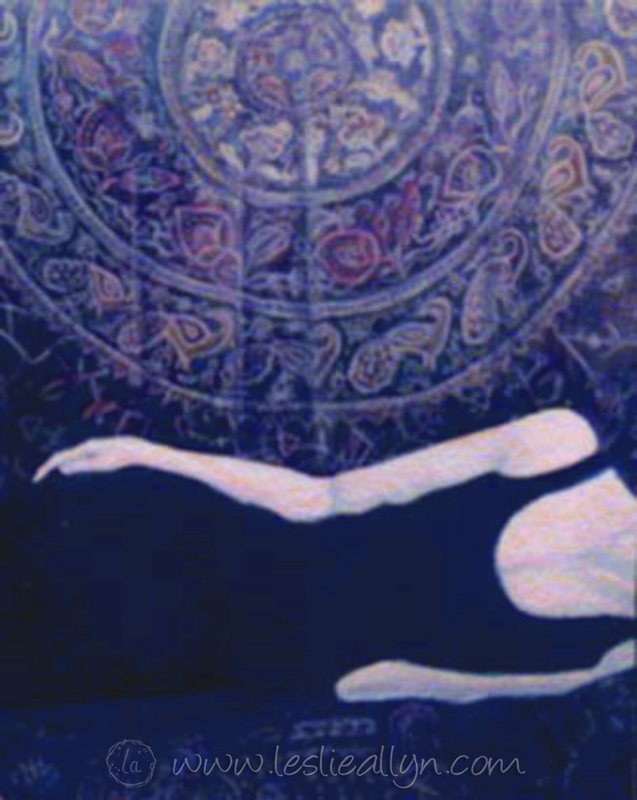 almost blue tapestry woman torso