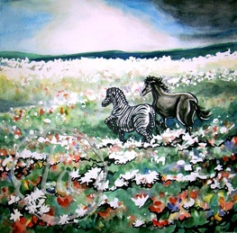 A zebra and a horse frolic through a meadow of flowers