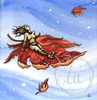 free fall fantasy riding on a leaf