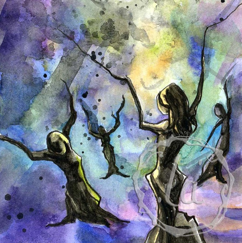 Celebration, a watercolor of people trees dancing in joy