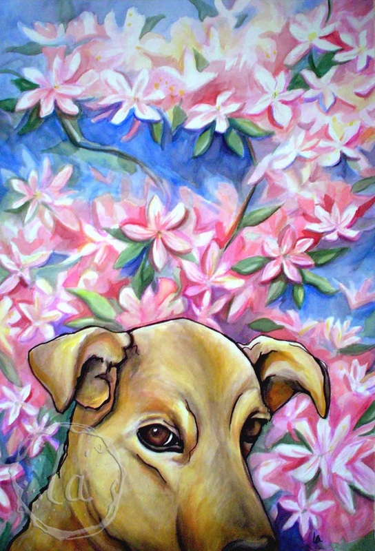 yellow bird dog in pink azaleas