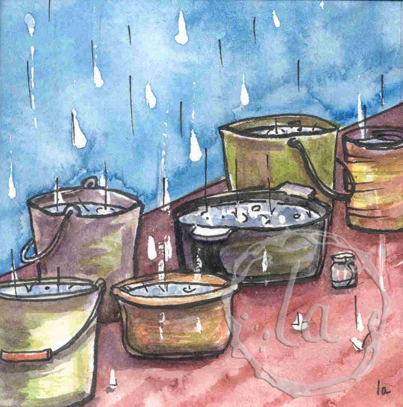 buckets of rain water