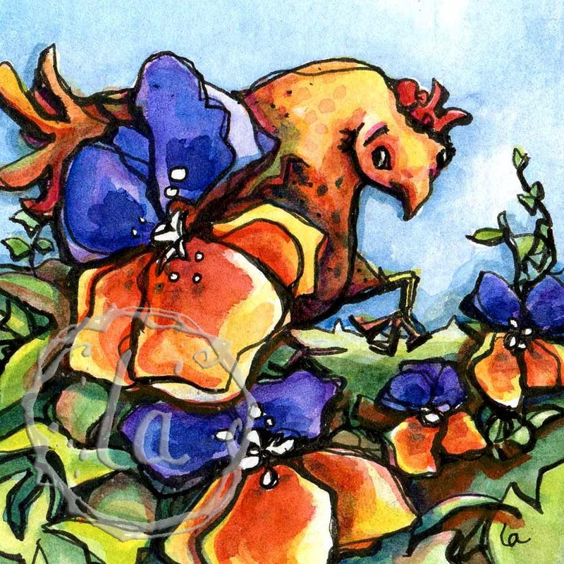 Spring Chicken, a chicken among the pansies, watercolor in orange and purple