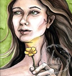 Do I like Butter, a watercolor of a girl holding a buttercup to her chin