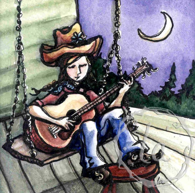 Porch swing girl playing guitar under the moon