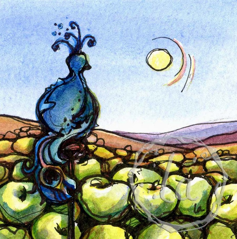Peacock perched with apples