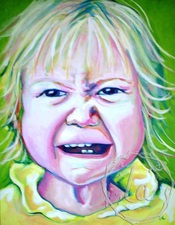 scrunch face girl portrait