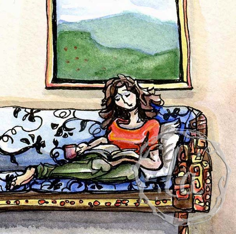 a woman sits on a couch reading a good book