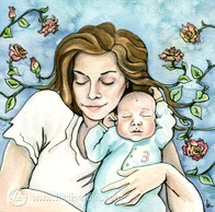 Mama and baby portrait in watercolor
