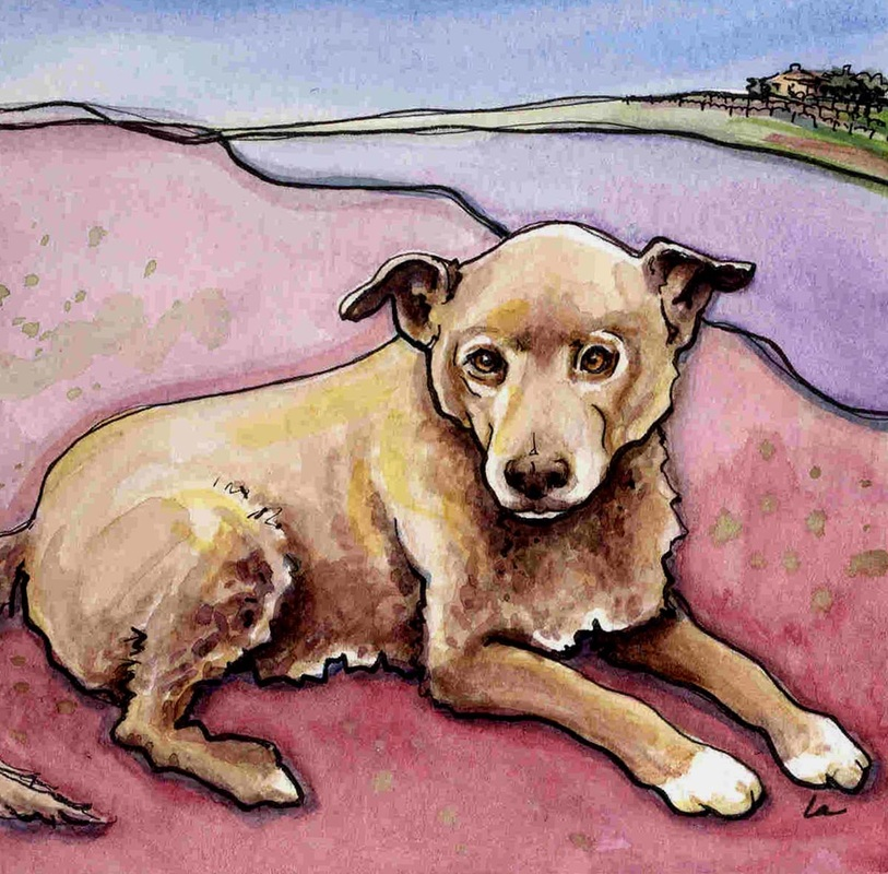 Java the dog in watercolor