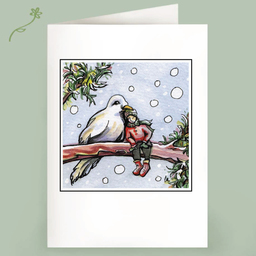 bird in hand fairy note card christmas