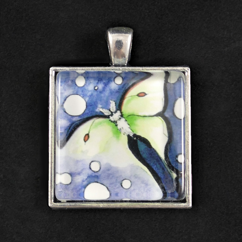 Luna Moth pendant with glass