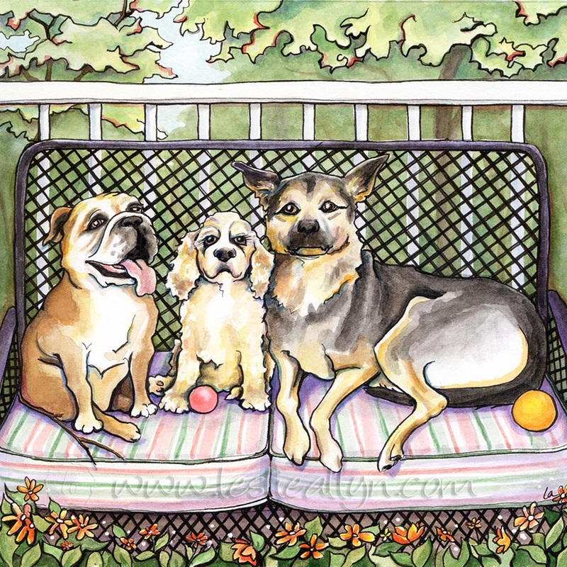 LoveSeat sofa triple dog bulldog terrier shepherd
