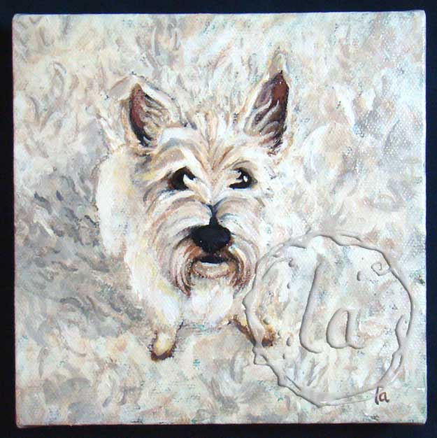 Invisible Dog - westie on a shag rug in acrylic