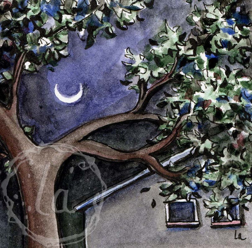 Cheshire Moon original watercolor by Leslie Allyn, a smile in the night sky