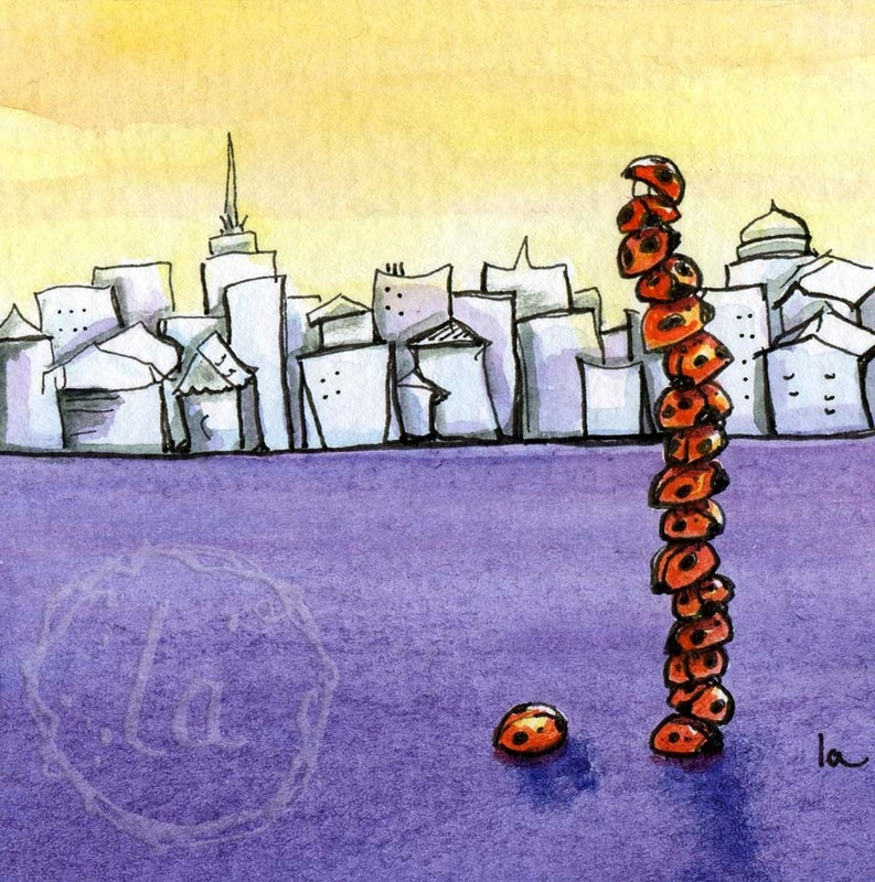 Original watercolor by Leslie Allyn of a tower of red ladybugs on purple with a city scape against a yellow sky