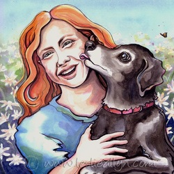 mystic and caroline red head and black dog licking face with flowers portrait