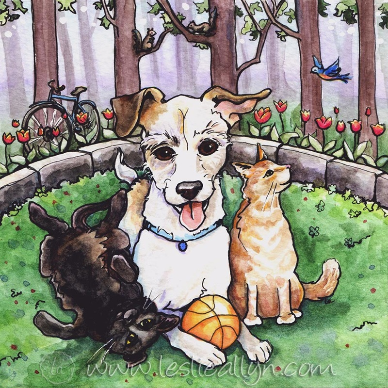In the Garden jack russell dog and cats
