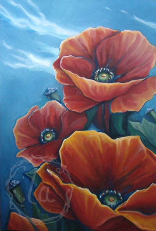 poppy breeze oil painting