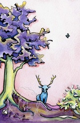 Forest Fantasy, an original watercolor painting by Leslie Allyn of a fantastical woodsie scene with a blue deer a purple tree and a tiny rabbit on a pink sky