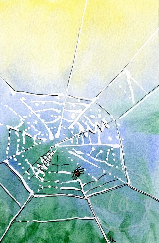 Morning Dew, watercolor of mornin light on a dewy spider web