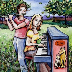 C and G watercolor with piano and flute