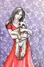 Original watercolor by Leslie Allyn of a girl in a red dress hugging a sloth animal in front of purple victorian wallpaper