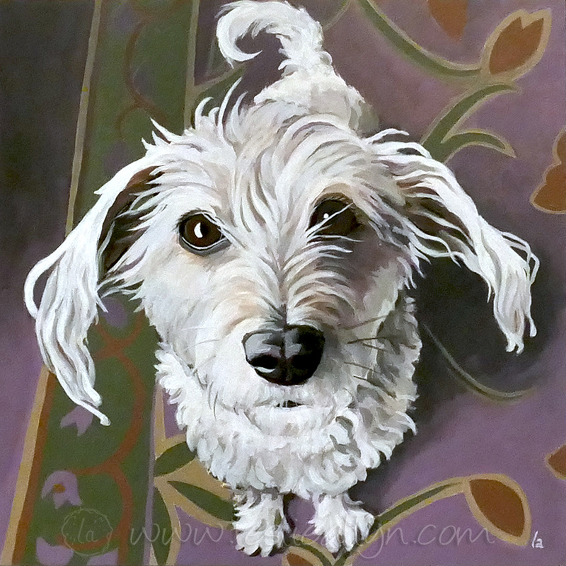 The Biscuit - white dog by Leslie Allyn acrylic