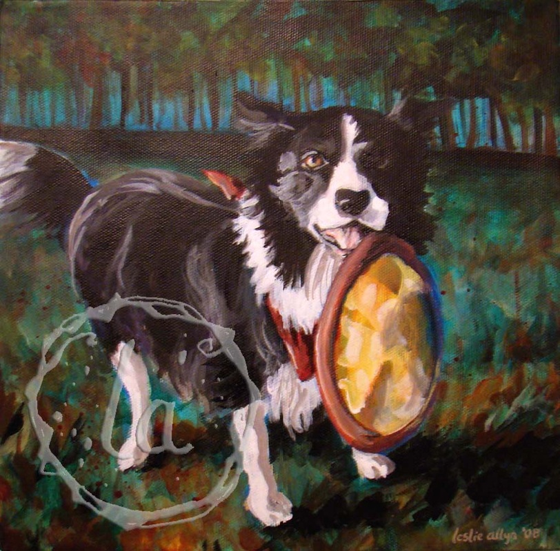 Harley and his frisbee in acrylic