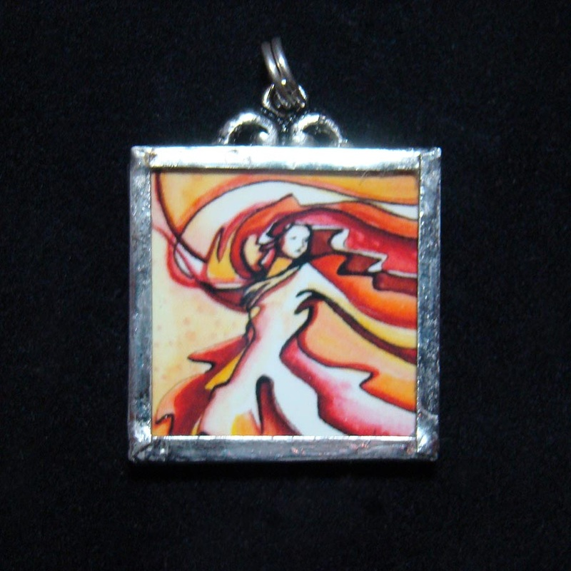twirler woman dancing pendant in orange red and yellow