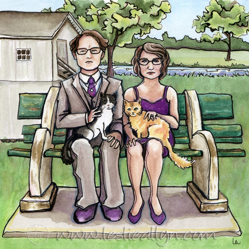 The Love Cats stoic American Gothic couple and cats