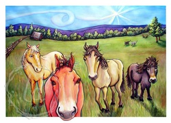 The Gang's All Here - horses in watercolor and ink
