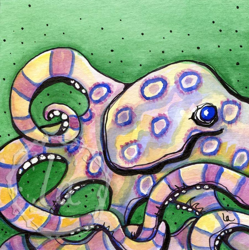 Original watercolor by Leslie Allyn of a sea animal octopus with pink yellow blue and purple rings in camouflage on a green background