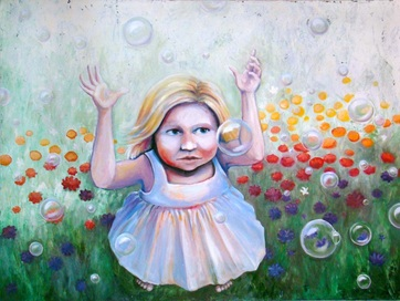 focus girl bubbles flowers spring popping