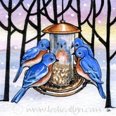 family meeting winter blue birds