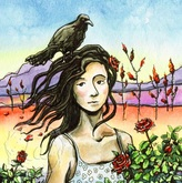 Grackle and a rose bush by Leslie Allyn, a watercolor dessert with wind, a black bird, a woman, red roses, a half moon, mountains, and sky