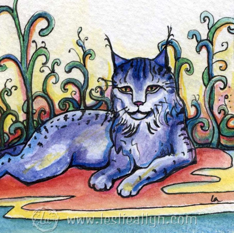 Watercolor by Leslie Allyn of a blue lynx among abstract plants
