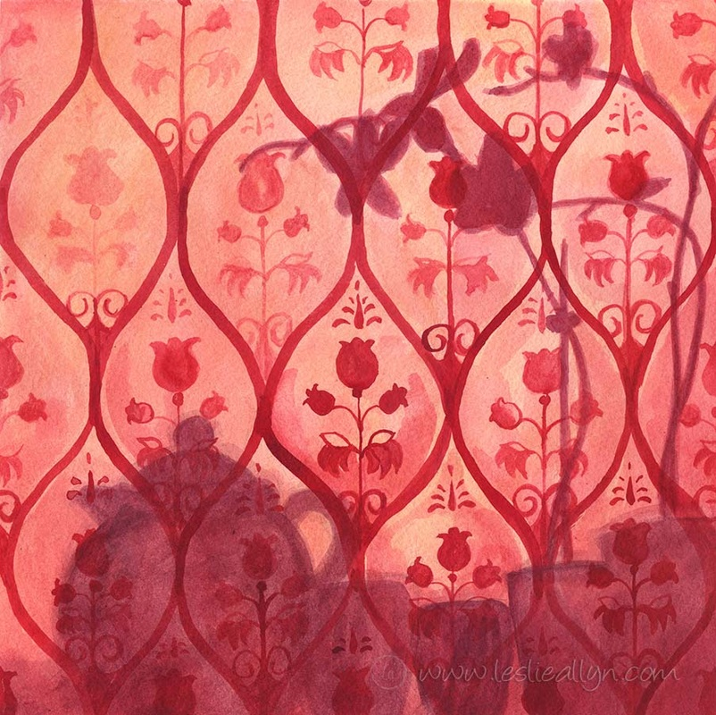 red orchid shadow and teapot on wallpaper wallflower