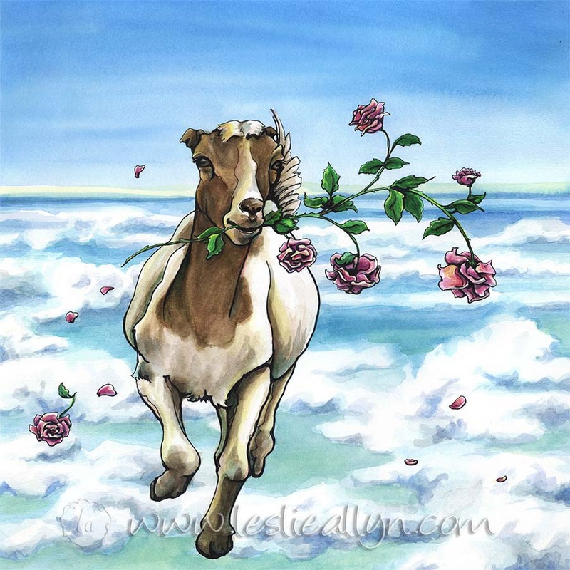 goat running with roses on clouds loose