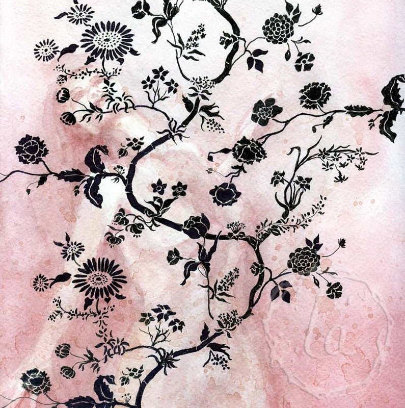 wallflower in rose by Leslie Allyn, a woman dances hidden among the pattern in pink and black wallpaper