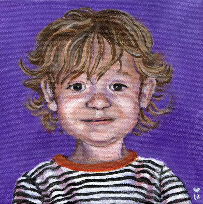 oscar portrait child purple black white red