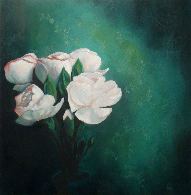 flowers at night green pink roses carnations light oil