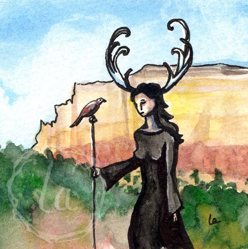 desert stroll antlers woman hawk walk