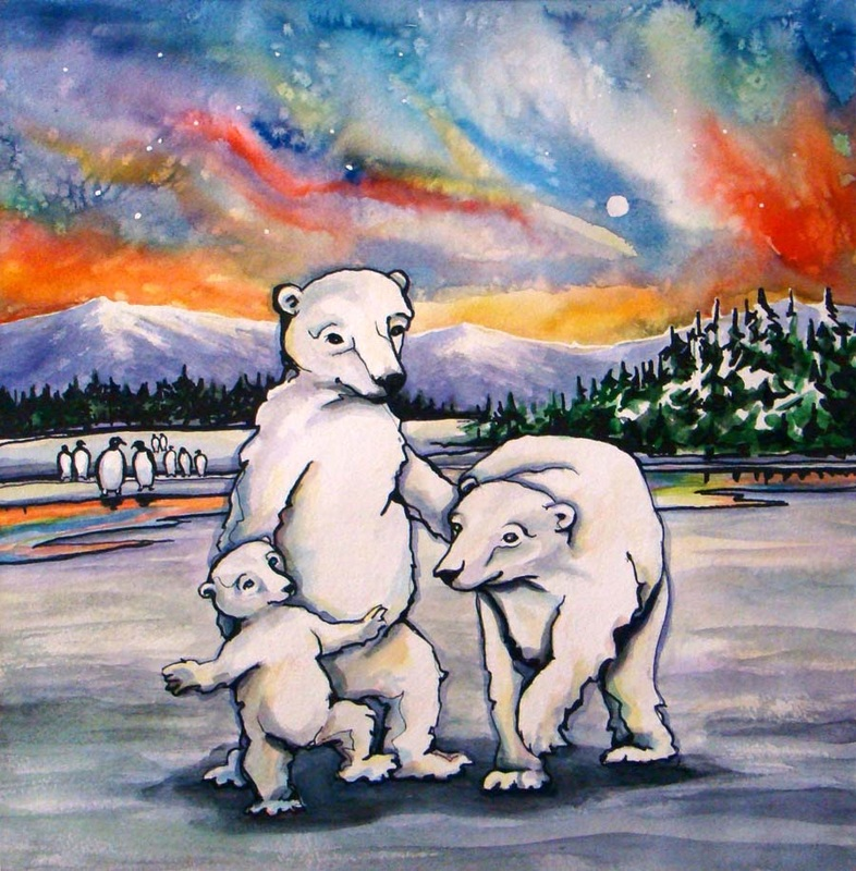 aurora borealis polar bears family northern lights penguins snow arctic