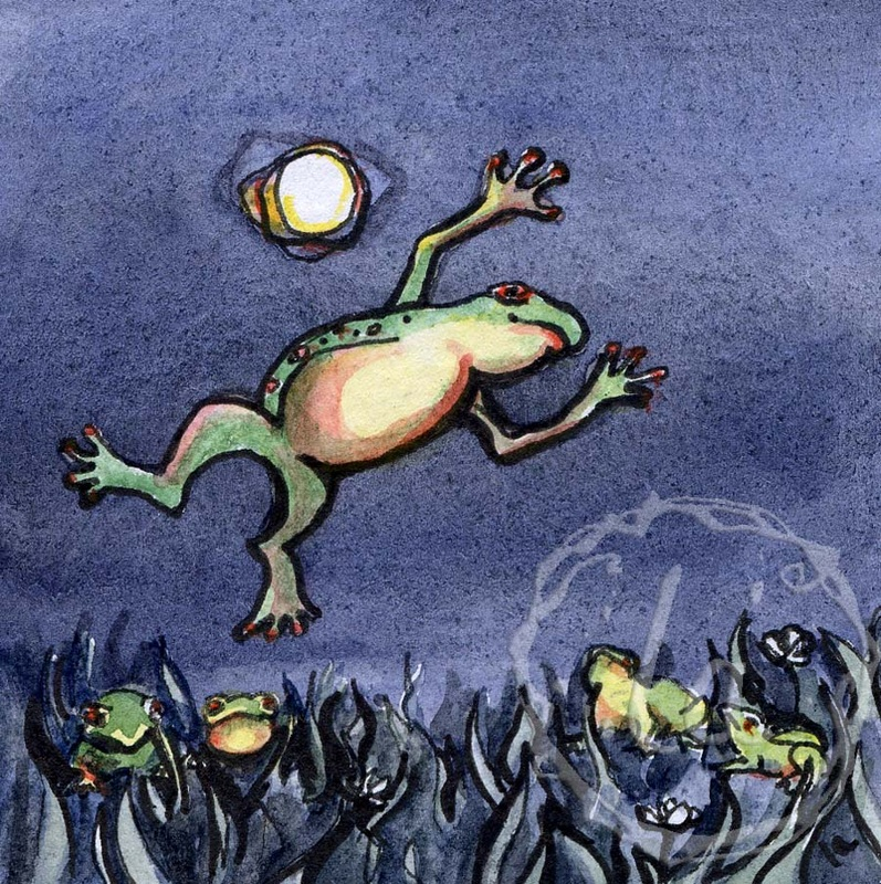 Leaping frog bullfrog moon night