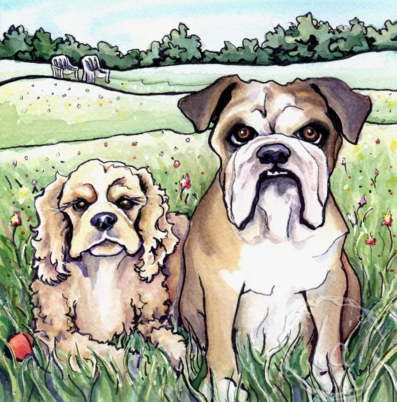Lily and Milton dogs bulldog landscape portrait