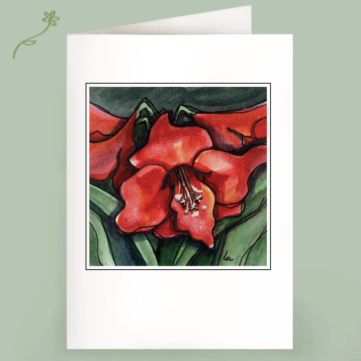 Amaryllis flower watercolor note card
