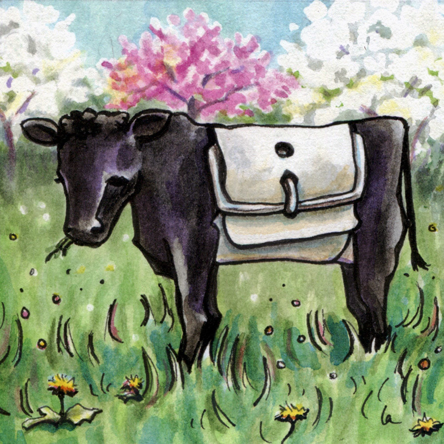 Belted Cow Beltie painting by Leslie Allyn